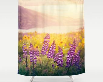 Designer Bathroom Shower Curtain | Wildflower Sunrise | Lupine & Balsam Root | Columbia Gorge Pacific Northwest | Home Decor | Nature