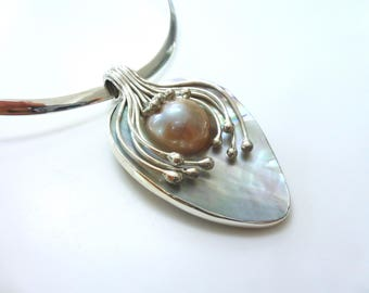 Pearl Pendant Sterling Silver And Mabe Pearl Large Necklace Pendant Statement Pendant Pearl Pendant