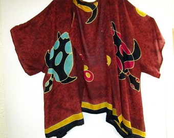 Upcycled Rayon Artsy Kimono SZ 2X 3X 4X Plus Size Clothing