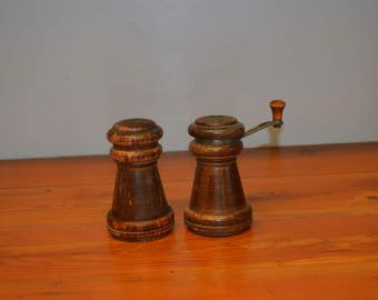 Vintage Mr. Dudley wood salt and pepper shakers pepper mill