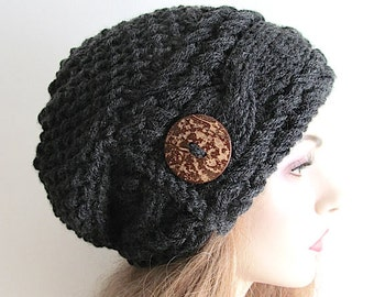 Slouchy Beanie Slouch Cable Hats Oversized Baggy Beret Button womens fall winter accessory Dark Heather Gray Chunky Hand Made Knit