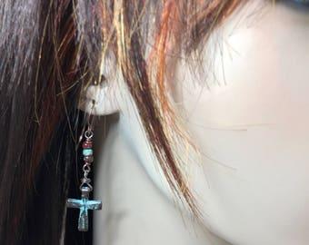 Cross Earrings Cross Jewelry Turquoise Earrings Turquoise Jewelry Christian Earrings Christian Jewelry Religious Earrings Made in USA