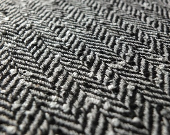 Black and White Herringbone Textured Boucle Coat Fabric - 50% wool blend - 150cm wide - Sold by the metre UK SELLER (B2)