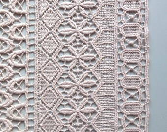 Blush Pastel Peach Guipure Banded Lace Fabric with Geometric Stripe Pattern - 130cm wide - sold by the metre - UK SELLER