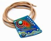 Art Nouveau Hippie *Boho unique modern art* Necklace - Enameled Copper Art 2017 by Michou Pascale Anderson