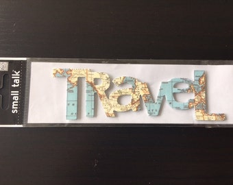 Me & My Big Ideas Chipboard Travel Title for Scrapbooking Map