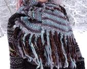 Grey scarf unisex Hand woven scarf Alpaca wool Hand spun scarf