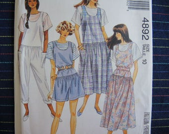 vintage 1990s sewing pattern McCalls 4892 misses jumper, jumpsuit, or romper and top size 10