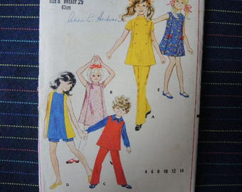 vintage 1960s Butterick sewing pattern 5342 Girls size 6 dress or jumper shorts or pants