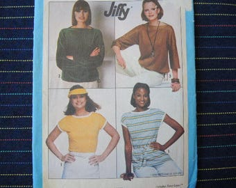vintage 1970s Simplicity sewing pattern 8088 misses knit pullover tops size 14-16