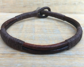 Mens Leather Bracelet, Mens Jewelry, Manly Bracelet, Rugged Mens Bracelet, Stainless Steel Bracelet, Dad Gift, Son Gift, Boyfriend Gift