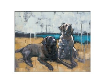 Labrador Dog Art - Matted Print of Original Custom Oil Painting - Dog Art, Dogs, Puppy, Animal Wall Art, Fun Art, For Boy, Girl, Labradors