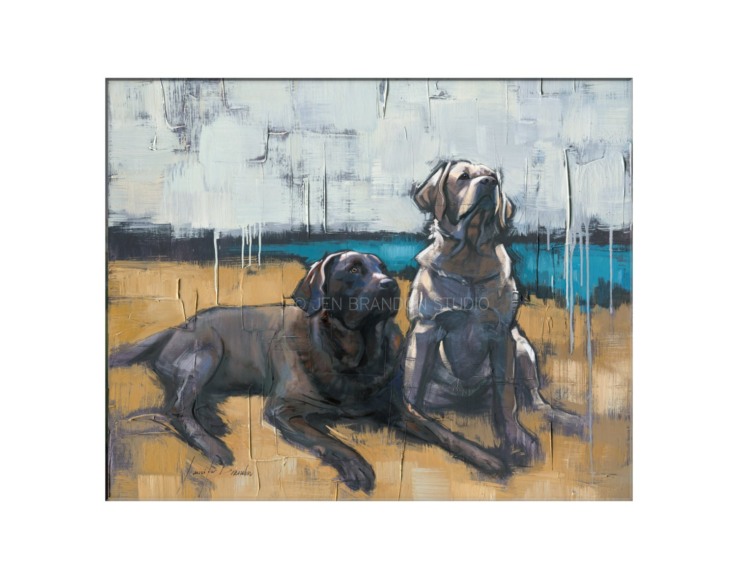 Labrador Dog Art Matted Print Of Original Custom Oil