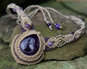 Renaissance princess fairy macrame necklace with amethyst