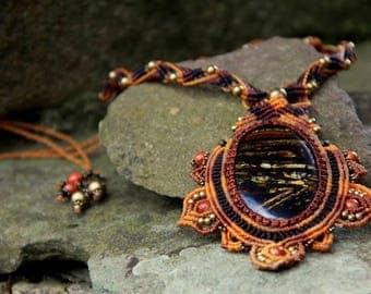 Renaissance tribal macrame necklace with Tiger eye
