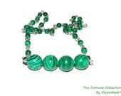 Malachite Necklace, Bar Necklace, Necklace With Linked Beads, Necklace With Big Green Beads