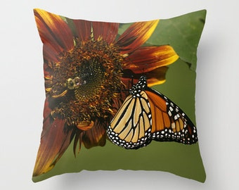 Photo Throw Pillow, Monarch on Sunflower, Photo Pillow, Throw Pillow, Butterfly Pillow, Photography, Nature