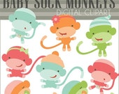 SALE - Baby Sock Monkey Clipart Set -Personal and Limited Commercial Use- pink, blue, monkey babies clipart, sock monkey clip art