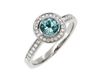 Aquamarine engagement ring, diamond halo ring, halo engagement ring, blue engagement, aquamarine wedding, white gold ring, bezel, vintage