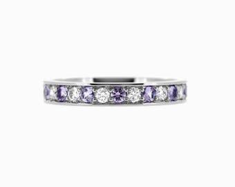 Lavender sapphire and diamond wedding band, white gold ring, half eternity, purple sapphire, diamond wedding, thin, engagement, violet
