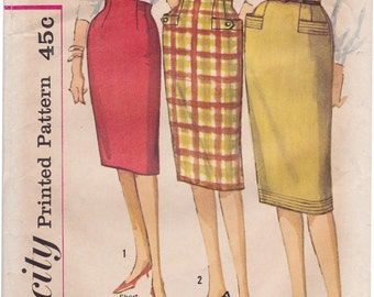 "RARE FF Simplicity 4100 -1950s Proportioned Slim Skirt One Yard Skirt Raised Waistline Vintage Sewing Pattern Waist 25"", UNCUT"