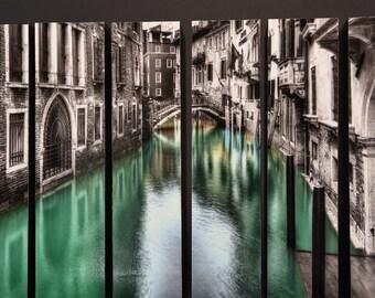 Hotel Columbina, Black & White and Color, Venice Italy, McArthur Vertical Wood Blocks