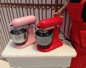 """1:6 Scale Miniature PINK or RED """"KitchenAid"""" MIxer for Barbie, Blythe, Momoko Dolls Dollhouse Diorama Playscale OOAK!"""