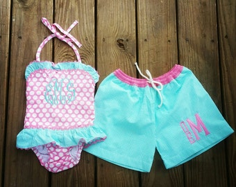 Boys/Girls Matching Swimsuits/Brother Sister Swimsuits/Boys Swim Trunks/Girls Swimsuit