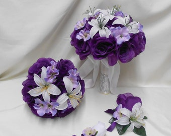 Wedding Silk Flower Bridal Bouquets 18 pcs Package Purple White Lily Lavender HydrangeasToss Bridesmaids Boutonnieres Corsages FREE SHIPPING
