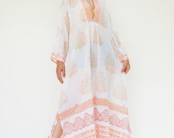 NO.211 Cream and Orange Cotton Ethnic Printed Kaftan Dress, Bohemian Caftan Dress