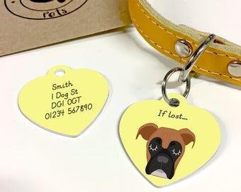 Dog Tag Boxer Personalised Heart ID Disc - Boxer Collar Name Tag - Boxer Dog
