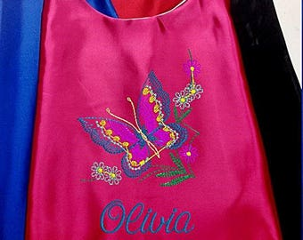 Super Hero Cape,  Embroidered Butterfly Cape, Girls Cape Personalized with Name