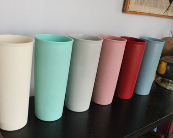 6 LARGE TALL 16 oz Vintage Tupperware Stackable Tumblers in solid pastel colors ,white,gray, pink, teal,blue,red set of five 107 series