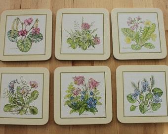 Beautiful Vintage Clover Leaf Coasters - UK Set of 6, Original Box, Floral images by Elizabeth Rice, Virginia USA 28 set, Watercolor floral