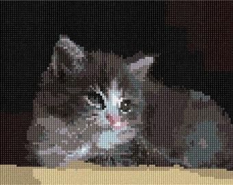 Needlepoint Kit or Canvas: Grey Cat