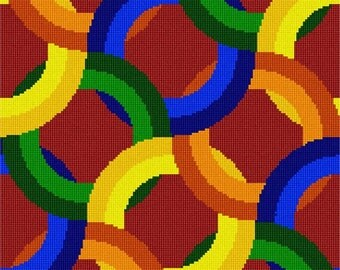 Needlepoint Kit or Canvas: Rings Square 1