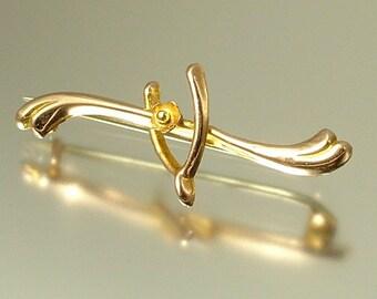 Vintage/ antique/ estate jewelry Edwardian 1900s 9ct gold/ 9kt gold, wishbone flower bar brooch / pin - jewellery / jewelry