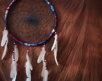 Big Dreamcatcher with Galaxy Frame and White Feathers - Large Dream Catcher for Home Decoration, Wedding or Nursery Decor