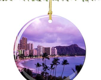 Hawaii Christmas Ornament in Porcelain with Waikiki Beach and Palm Trees