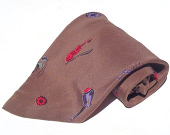 Vintage 1950s Brown Swing Era Silk Tie with Musical Instrument Pattern