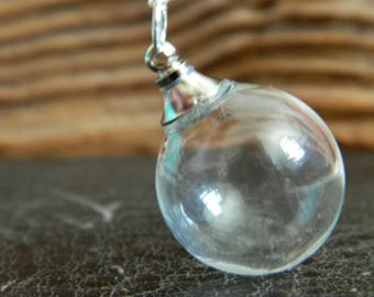 Empty Glass Orb Pendant Necklace.Fill Your Own Pendant.Screw Top.DIY.Keepsake.Make A Wish.