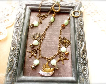 Romantic Jewelry, Christian Jewelry, Charm Necklace, Assemblage Jewelry, Vintage Style*PEACEMAKER*