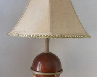 Vintage Egyptian Lamp, Wood and Metal, Shade included,
