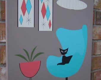 16 X 20 Acrylic Painting Mid Century Modern Inspired