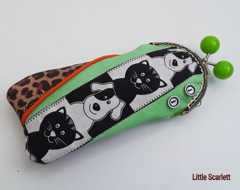 cases with glasses clasp retro green leather and leopard printed leather + fabric cats and dogs