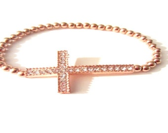 Rose Gold Bracelet. Cross Bracelet. Side Cross Bracelet. Beaded Cross. Cross Jewelry.