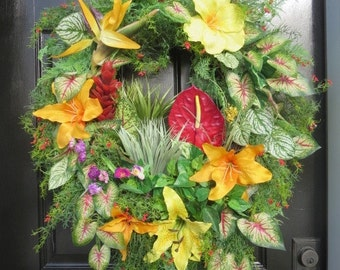 Tropical Summer Wreath, Spring summer Front Door Wreath, Tropical Floral Wreath, Tropical Door Hanger, Summer Door Wreath,Lily Summer Wreath