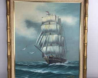 H.B. King Original Signed Oil on Canvas 24 x 28 Sail Boat Ship Nautical Mid Century Regency Home Decor Vintage Fine Wall Art