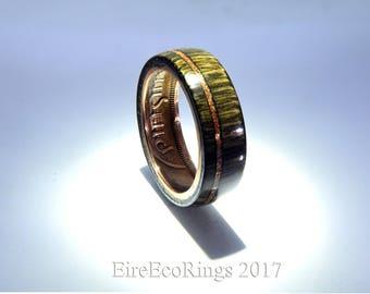 Dark wood wedding ring stylish Irish handmade bog Oak rings