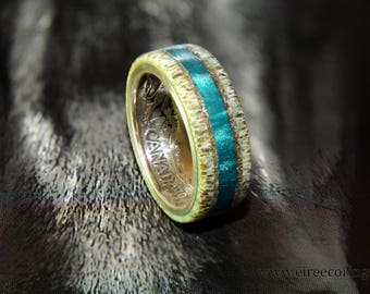 Silver Canada coin ring with deer antler and turquoise inlay